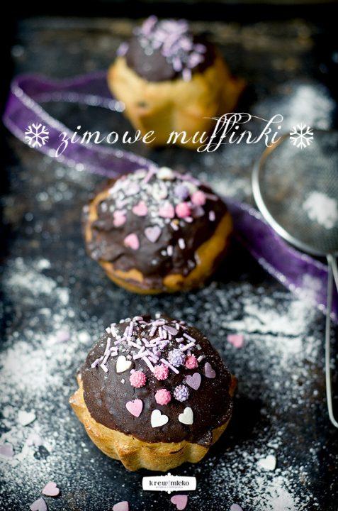 Zimowe muffinki czekoladowo-bananowe