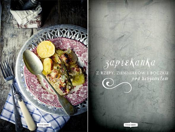 Zapiekanka z rzepy, ziemniaków i boczku pod beszamelem