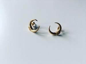 Złote kolczyki Mood Jewellery, Moons