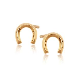 Złote kolczyki marki Yes w kształcie odwróconej podkowy.