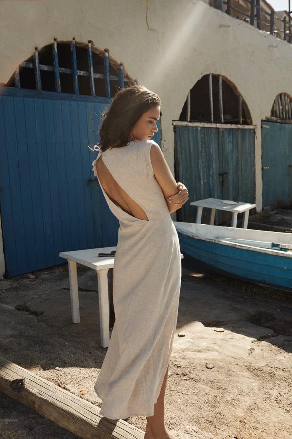 The Odder side sukienka, The odder side lniana sukienka, długa sukienka
