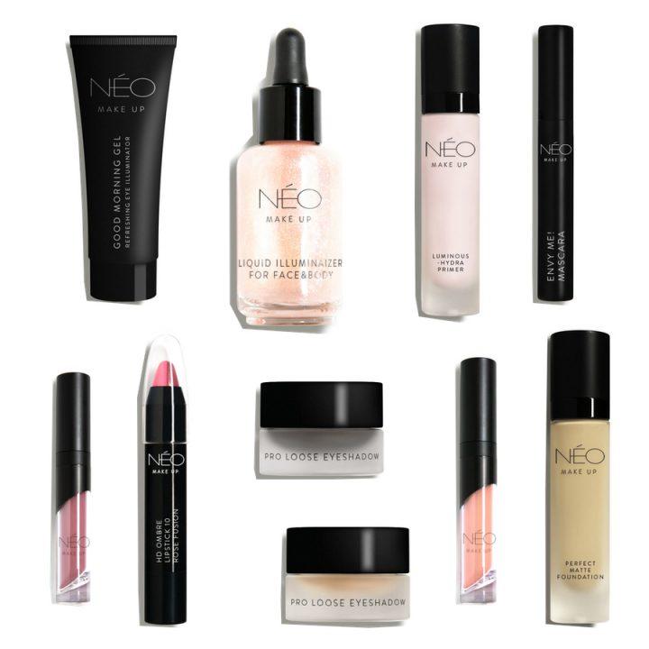 NEO MAKE UP to przede wszystkim bazy, podkłady, pudry, a także cienie do powiek, tusze do rzęs oraz pomadki i błyszczyki, wegańskie kosmetyki do makijażu