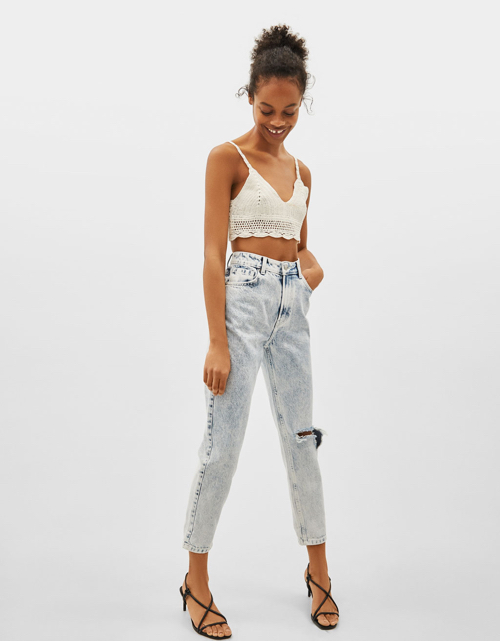 mom fit jeansy Bershka, gdzie kupić jeansy mom fit