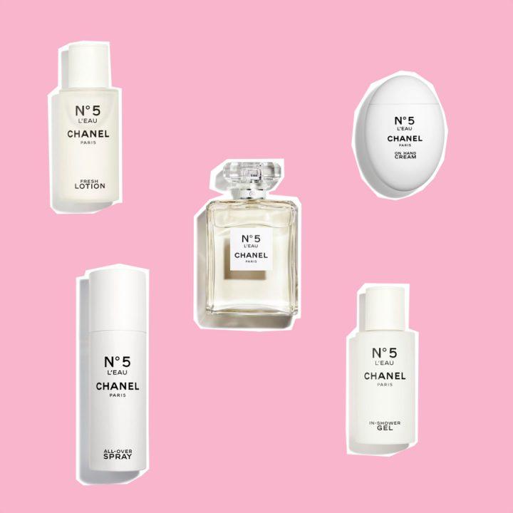 N°5 L'EAU Chanel, świeży żel pod prysznic Chanel, najlepszy krem do rąk Chanel, świeży lotion do ciała Chanel, spray do ciała Chanel, Naturalny i świeży zapach Chanel N°5 L'EAU
