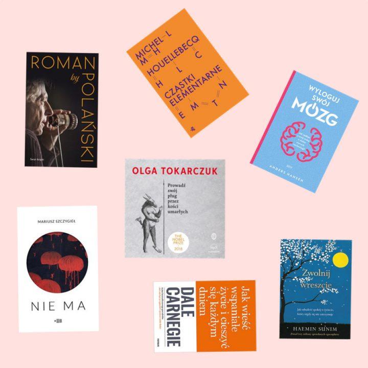 Książki, które Cię zainspirują 2020, Książki, które Cię zainspirują: Roman by Polański - Polański Roman, Cząstki elementarne - Houellebecq Michel,Wyloguj swój mózg. Jak zadbać o swój mózg w dobie nowych technologii - Hansen Andres, Nie ma - Szczygieł Mariusz, Prowadź swój pług przez kości umarłych  - Tokarczuk Olga, Jak wieść wspaniałe życie i cieszyć się każdym dniem - Carnegie Dale, Zwolnij wreszcie. Jak odnaleźć spokój w świecie, który nigdy się nie zatrzymuje - Sunim Haemin.