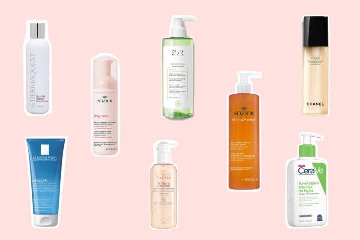 Oczyszczanie twarzy w domu - jaką metodę wybrać: DermaQuest terapeutyczny żel do mycia z kwasem glikolowym, NUXE oczyszczająca pianka micelarna, SVR żel do twarzy, NUXE żel do twarzy i ciała, CHANEL olejek do demakijażu Anti-Pollution, La Roche-Posay Effaclar żel do twarzy, Avène Trixera Nutrition żel do twarzy i ciała, CeraVe emulsja do kąpieli.